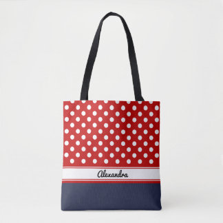 Custom Red and White Polka Dots with Cream Base Tote Bag
