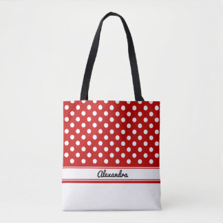 Custom Red and White Polka Dots with White Base Tote Bag