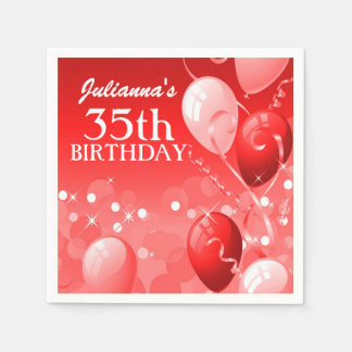 Custom Red Balloons with White Birthday Disposable Serviettes