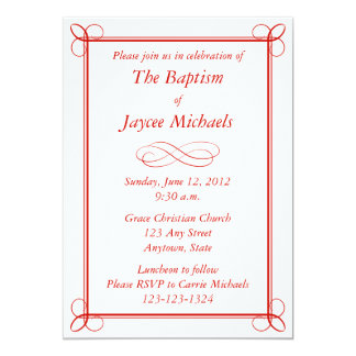 Custom Red Baptism Invitation or Other Event