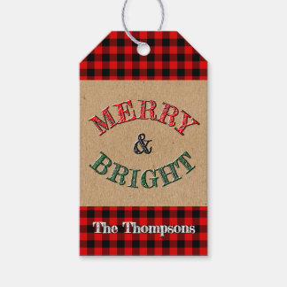 Custom Red Black Buffalo Check Plaid Pattern Gift Tags