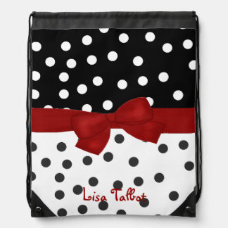 Custom Red, Black, & White Polka Dot Backpack