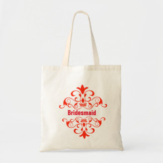 Custom Red Bridesmaid Wedding Tote Bag