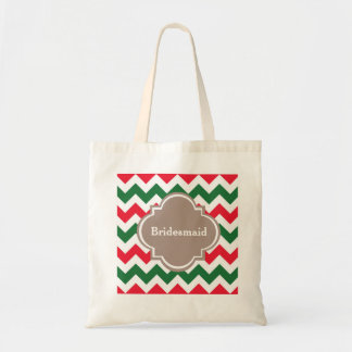 Custom Red Chevron Bridesmaid Wedding Tote Bag