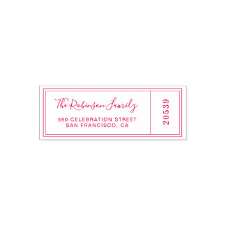 Custom Red Family Name Calligraphy Return Address Self-inking Stamp