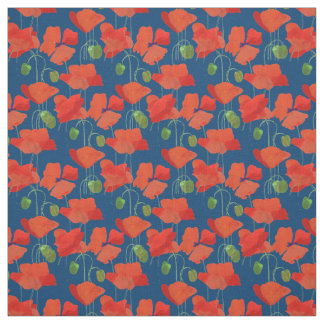 Custom Red Field Poppies Deep Blue Floral Fabric