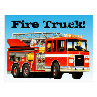 Custom Red Fire Truck Postcard