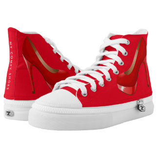 Custom Red Funny High Top Shoes Printed Shoes