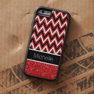 Custom Red Glitter Chevron Xtreme iPhone 6 Case