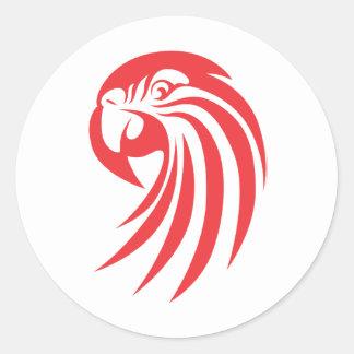 Custom Red Macaw Logo Classic Round Sticker