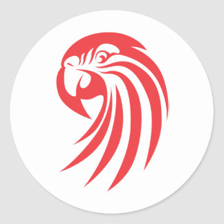 Custom Red Macaw Logo Round Sticker