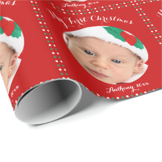 Custom Red My First Christmas Wrapping Paper