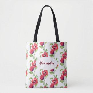 Custom Red Poppies Floral Art Tote Bag