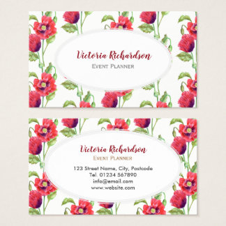 Custom Red Poppies Floral Art White Oval Business Card