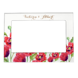 Custom Red Poppies Floral Illustration Magnetic Frame