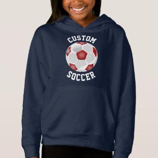 Custom Red Soccer Ball Girls Hoodie Sweatshirt