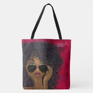 Custom Red Sorority Natural Hair Black Art Tote Bag
