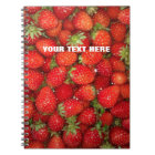 Custom red strawberry photo food journal notebook