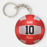Custom Red Volleyball Basic Round Button Key Ring