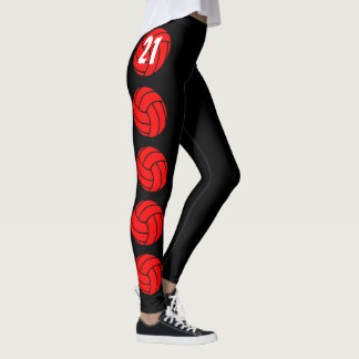 Custom Red Volleyball Compression Pants Leggings