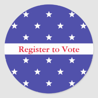 Custom Red White and Blue Register to Vote Sticker