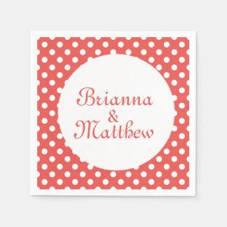 Custom Red & White Polka Dot Bride & Groom Paper Napkins