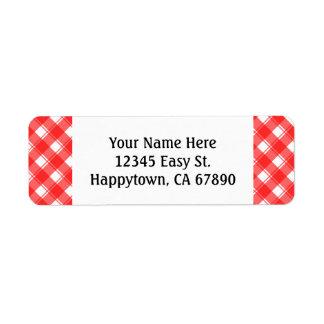 Custom Red White Retro Plaid Return Address Labels