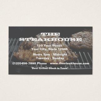 (Custom) Restaurant - Steak photo w/transparence Business Card