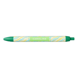 Custom Retro Artistic Cool Abstract Waves Pattern Black Ink Pen