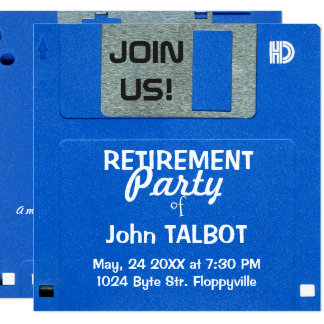 Custom Retro Floppy Disk Retirement Party invite