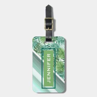 Custom Retro Hip Tropical Green Palm Leafs Pattern Luggage Tag