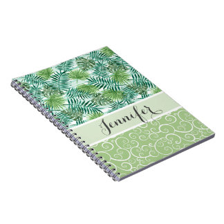 Custom Retro Hip Tropical Green Palm Leafs Pattern Spiral Notebook