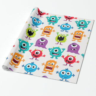 Custom Retro Monster Alien Wrapping Paper