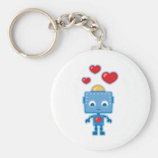 Custom Retro Robot Art Personalized Basic Round Button Key Ring