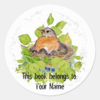 Custom Robin in Nest- Book Plate Classic Round Sticker