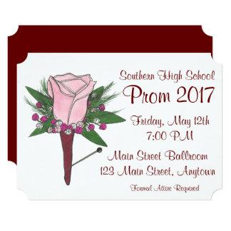 Custom Rose Flower Boutonniere Prom Invitation