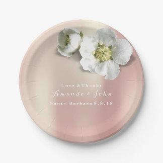 Custom Rose Gold Blush White Jasmine Glitter Paper Plate