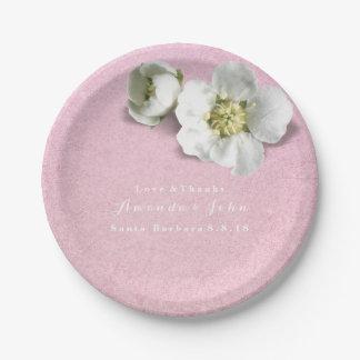 Custom Rose Gold Pink White Jasmine Glitter Paper Plate