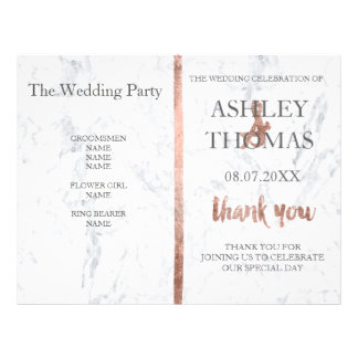 Custom Rose gold typography marble wedding program 21.5 Cm X 28 Cm Flyer