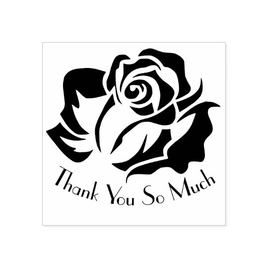 Custom Rose Silhouette Thank You Design Rubber Stamp