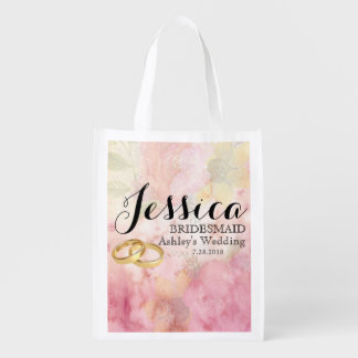 Custom Rose & Wedding Ring Bridesmaid Tote Bag
