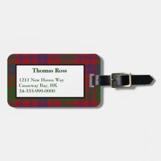 Custom Ross Tartan Plaid Luggage Tag