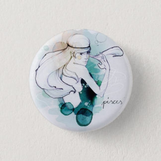 Custom round button/Pisces-woman image 3 Cm Round Badge