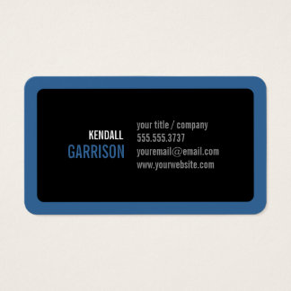 Custom Round Corners Blue and Black Modern Business Card