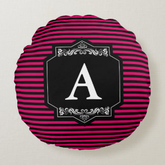 Custom Round Cushion Pink Stripes Monogram