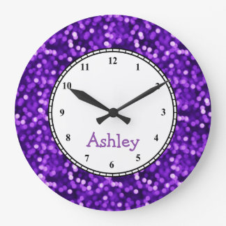 Custom Round Purple Sparkle Large Clock