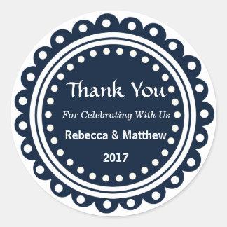 Custom Round Wedding Favor Thank You Stickers