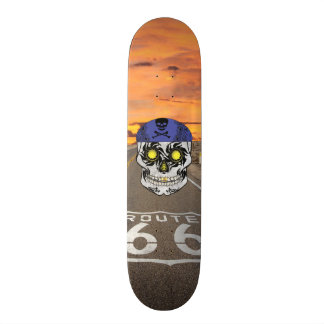 Custom Route 66 Motorcycle Candy Skull Deck Skate Board