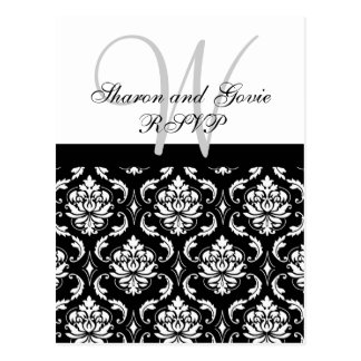 Custom RSVP Damask Wedding Postcard