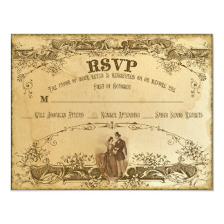 Custom RSVP Tea Stained 2 Card